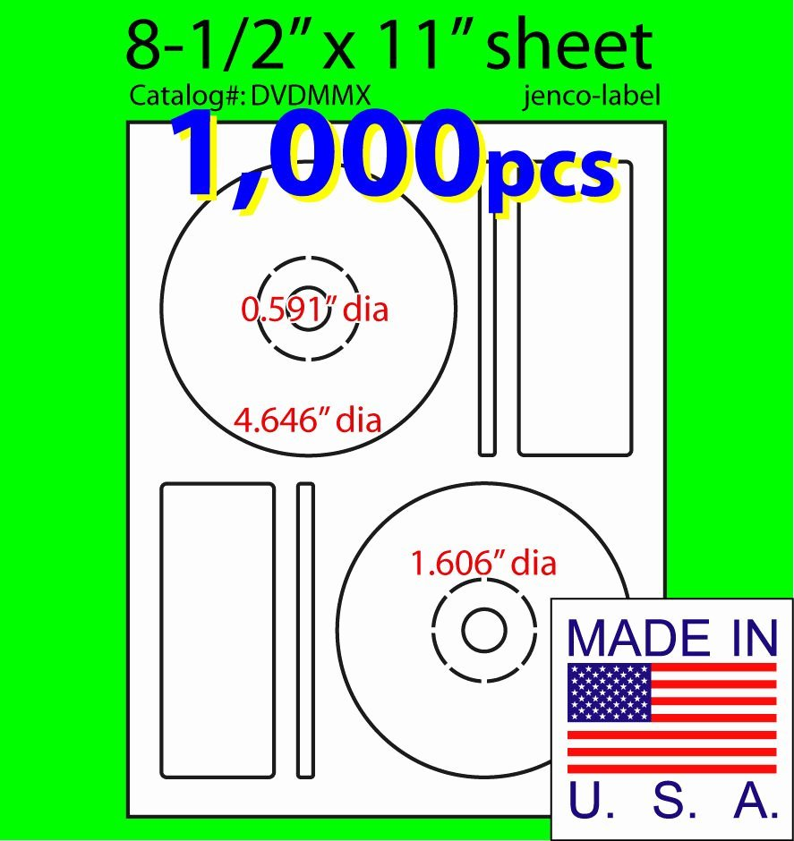 1 000 Memorex Patible Cd Dvd Labels Matte White Laser