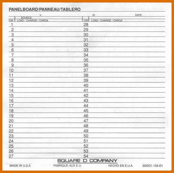 1 2 Panel Schedule Template