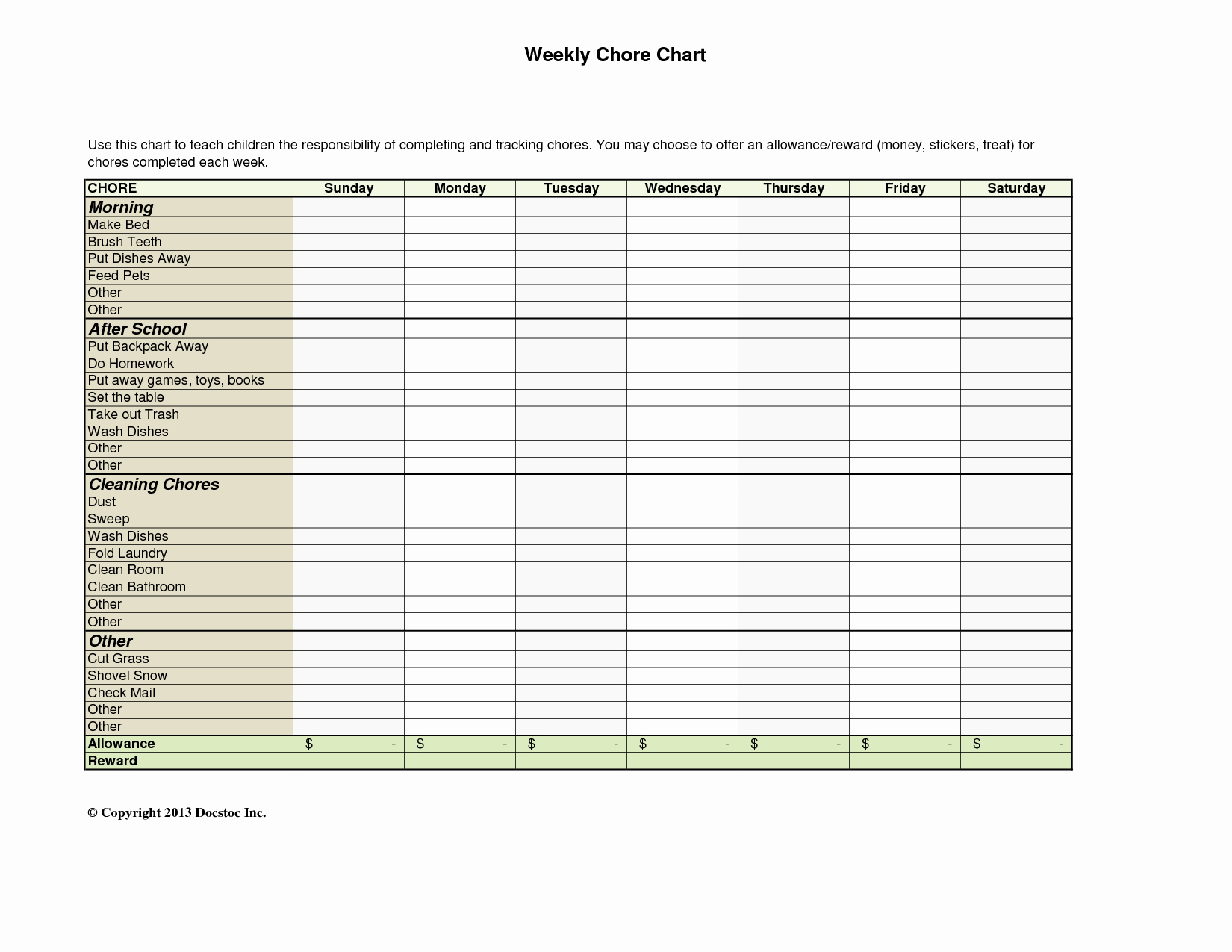 10 Best Of Daily Weekly Chore Chart Template