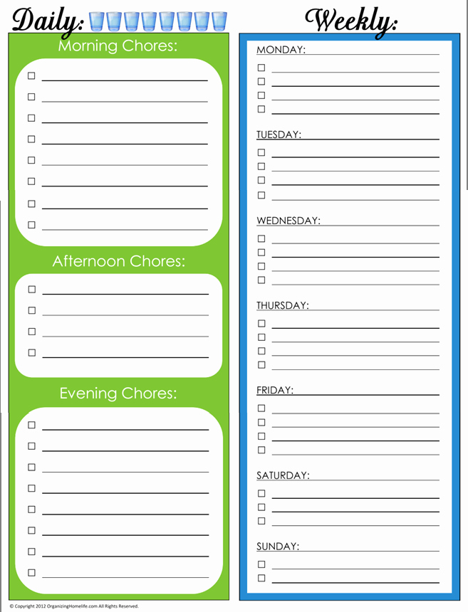 post printable daily chore schedule