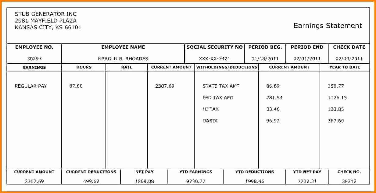 10 Pay Stub Template for 1099 Employee