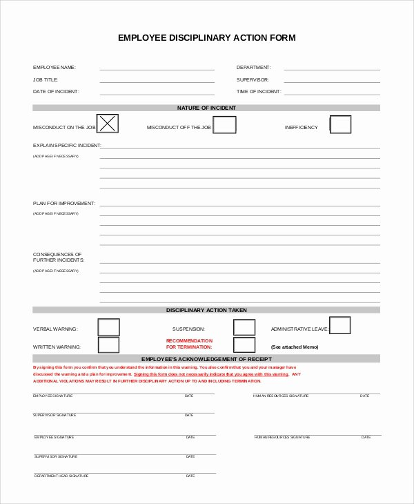 10 Sample Employee Discipline forms