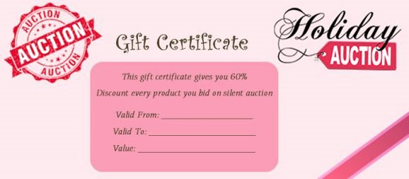 10 Silent Auction Gift Certificates Easy to Use Templates