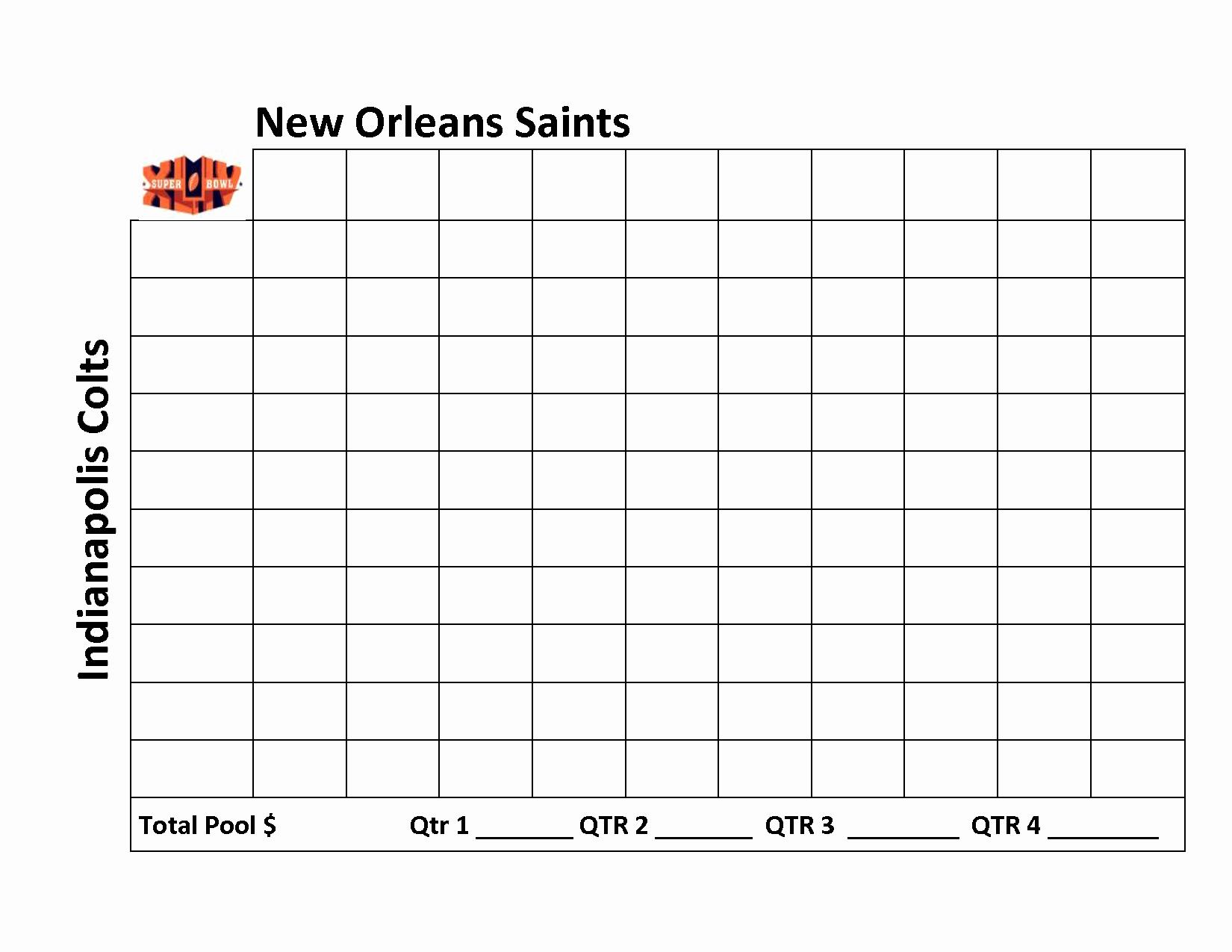100 Square Super Bowl Square Sheet