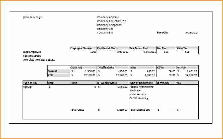 11 1099 Pay Stub Template Excel