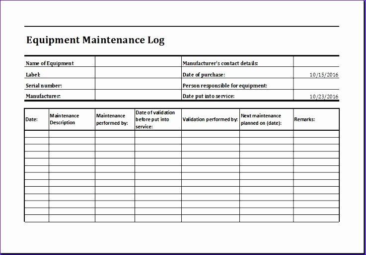11 Equipment Maintenance Log Exceltemplates Exceltemplates