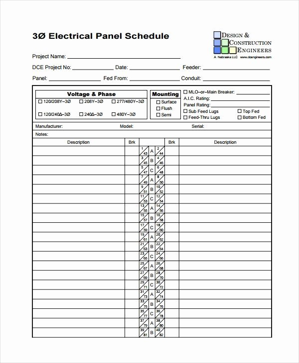 11 Lovely Electrical Panel Schedule Excel
