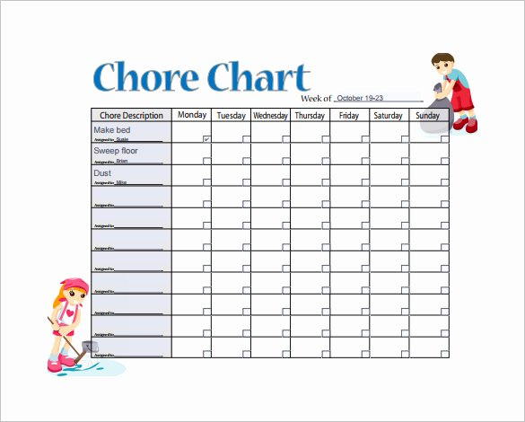 11 Sample Weekly Chore Chart Template Free Sample