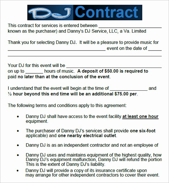 12 Dj Contract Templates Pdf Doc