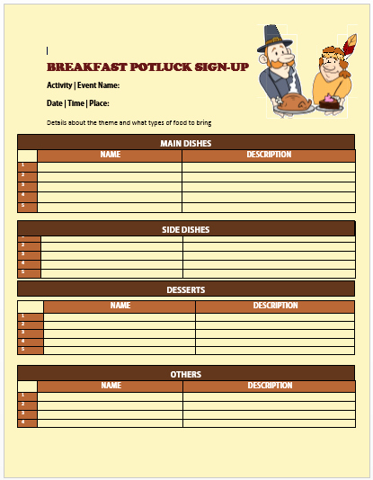 13 Charming Breakfast Potluck Sign Up Sheets Free Word