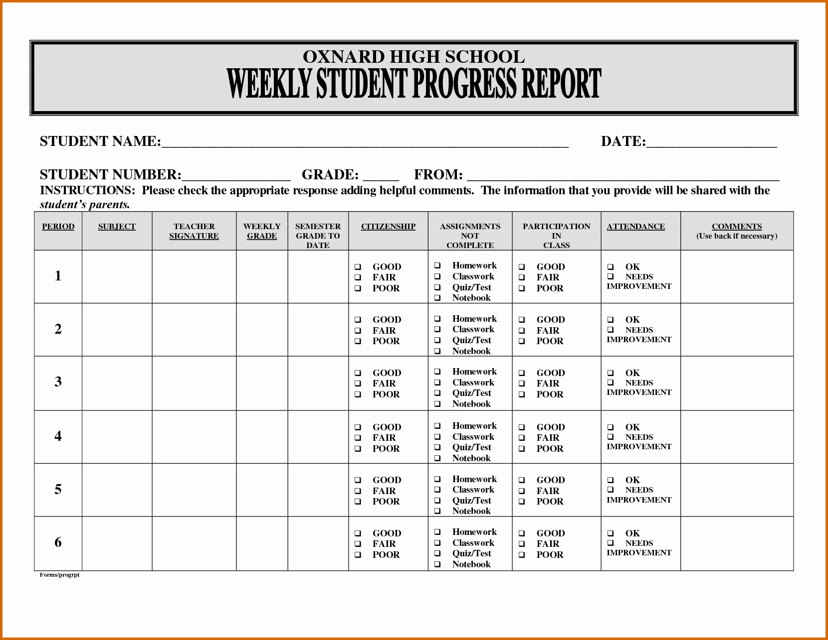 13 progress reports for elementary students