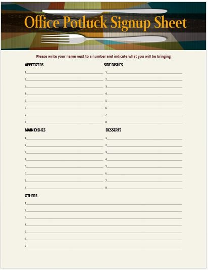 13 Stylish Fice Potluck Signup Sheets for Your Next