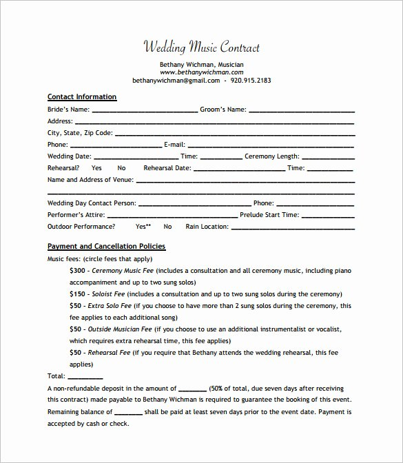 15 Music Contract Templates Word Pdf Google Docs