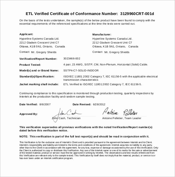 20 Certificate Of Conformance Templates