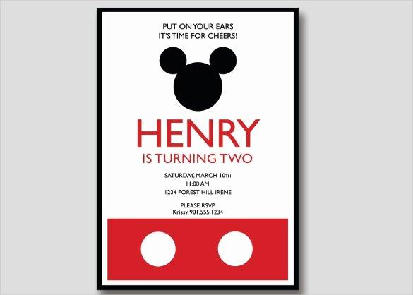 sample mickey mouse birthday invitation