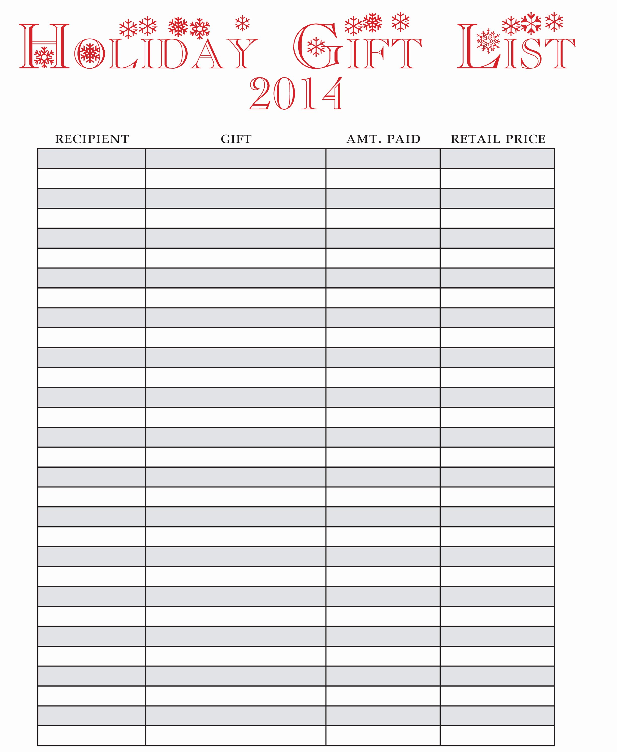 2014 Printable Holiday List