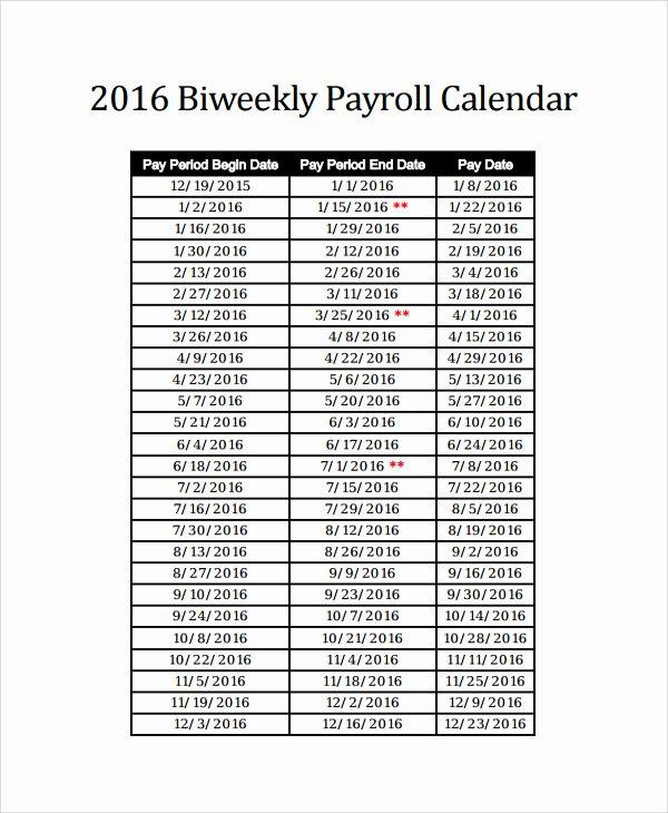 2016 Bi Weekly Payroll Calendar Samples