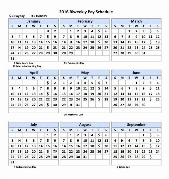 2016 Biweekly Payroll Calendar Template Free