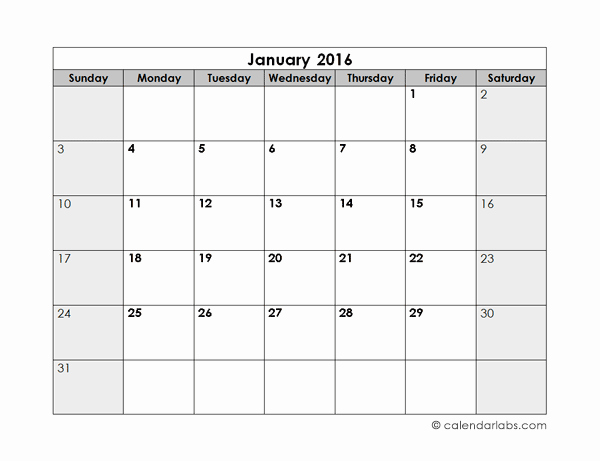 2016 Blank Monthly Calendar Free Printable Templates