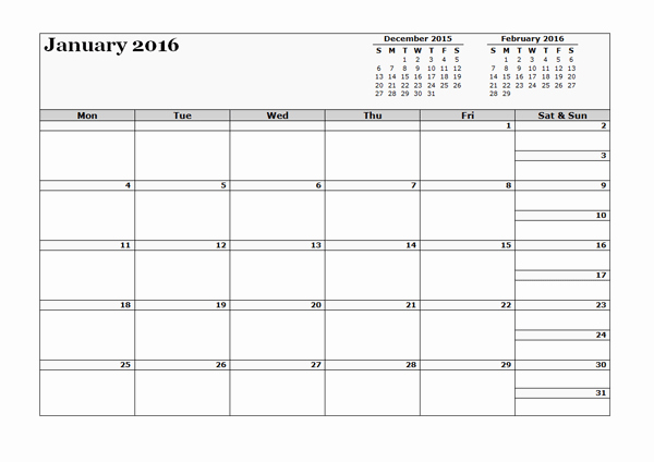2016 Three Monthly Calendar Template Free Printable