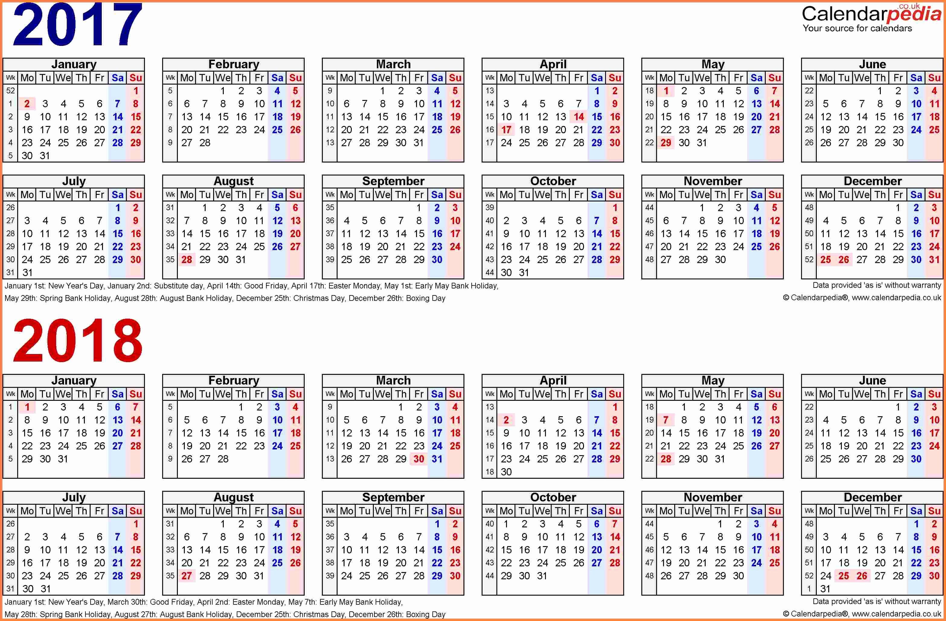 2018 Calendar Biweekly Payroll – 2018 New Year