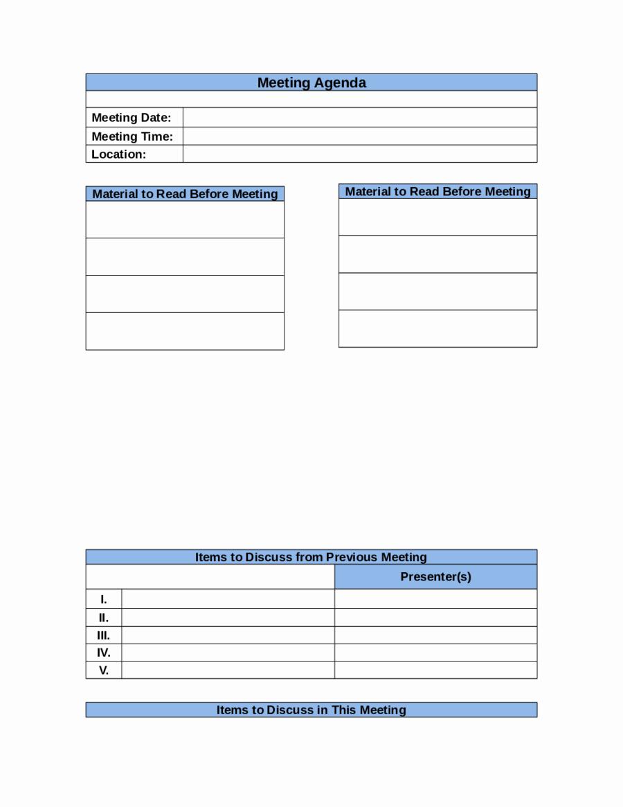 2019 Meeting Agenda Template Fillable Printable Pdf