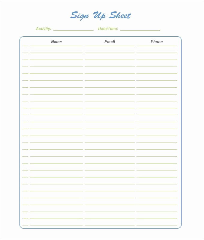 21 Sign Up Sheet Templates Free Word Excel & Pdf