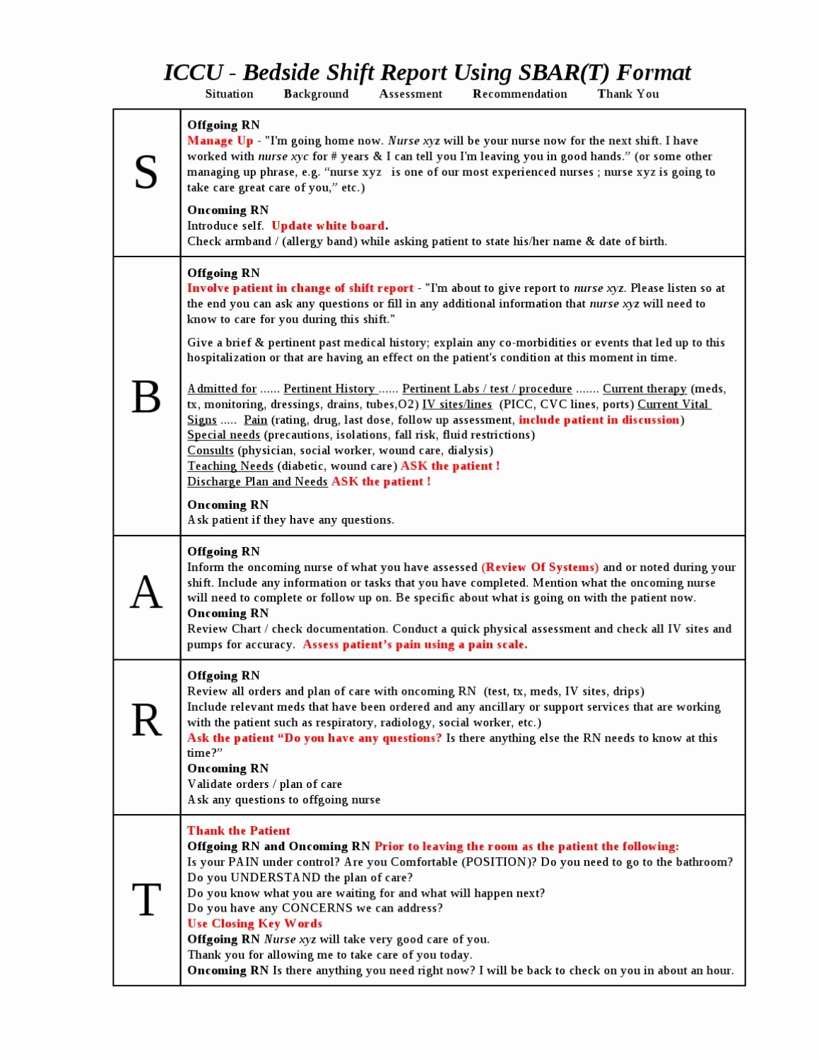 28 Of Sbar Shift Report Template