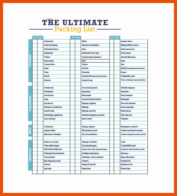 3 4 Packing List Template
