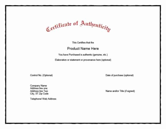 37 Certificate Of Authenticity Templates Art Car