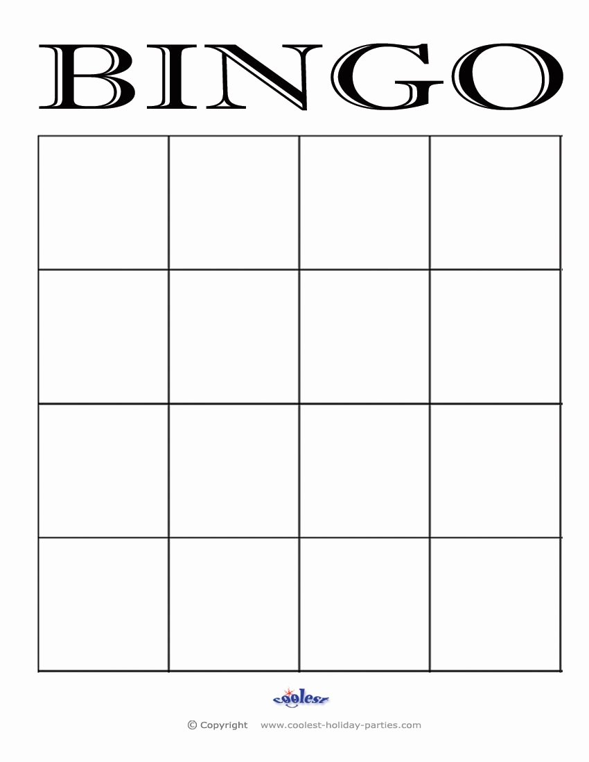 4x4 Blank Bingo Card Template