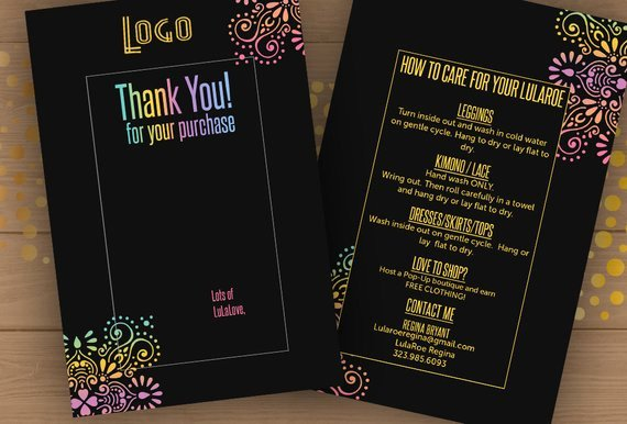 4x6 Lula Thank You Care Card Template Psd Editable Pdf