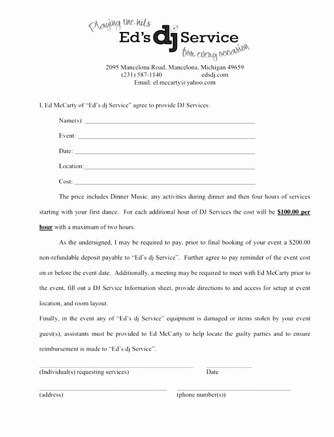 5 Disc Jockey Contract Template Ytleh