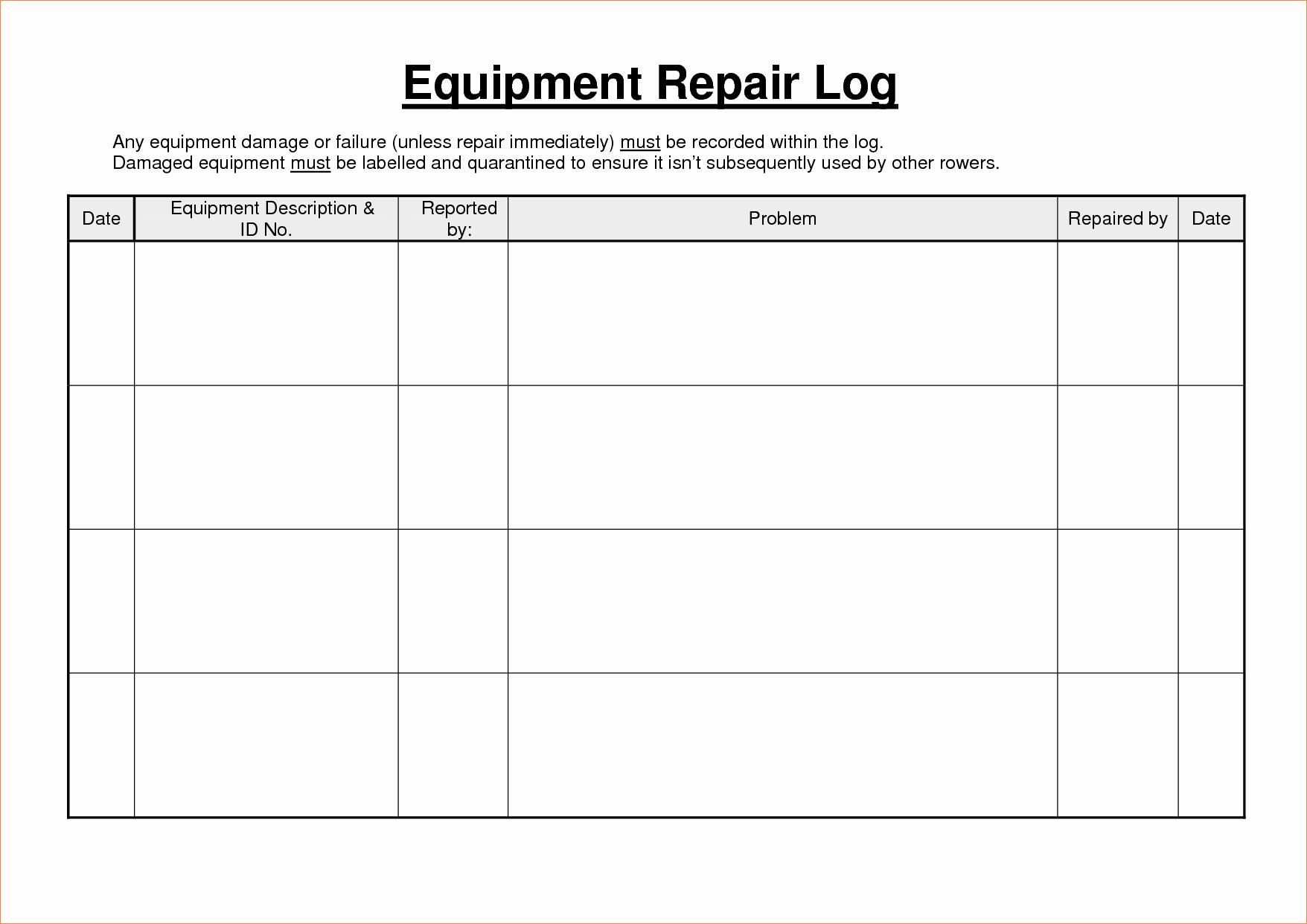 5 equipment maintenance log