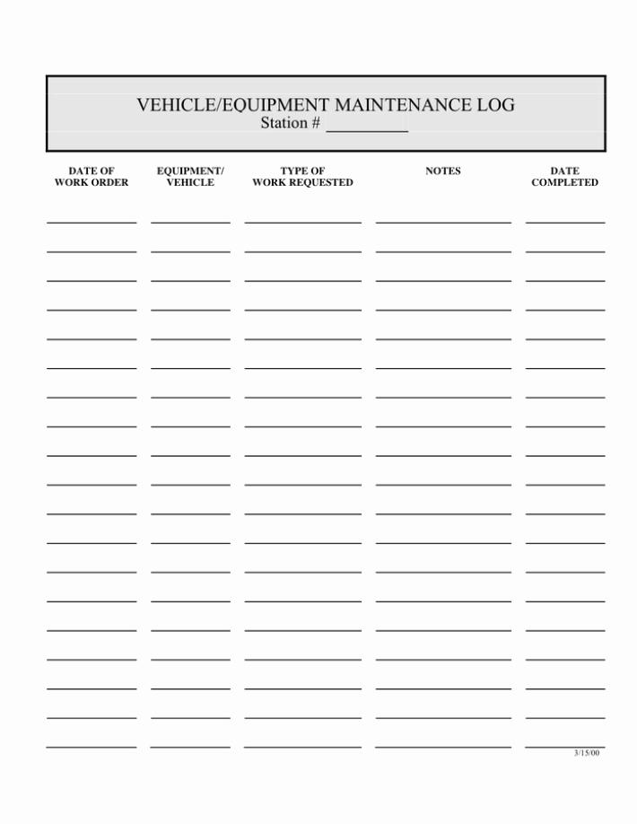 5 Equipment Maintenance Log Templates – Word Templates