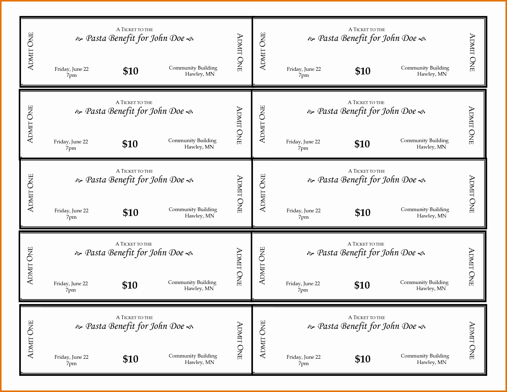 5 Free Printable Ticket Templatesreference Letters Words