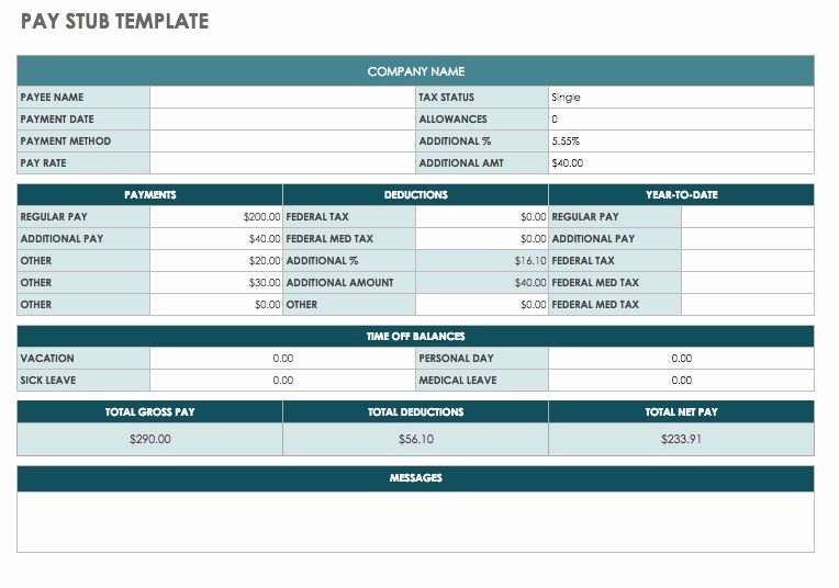 5 Printable Pay Stub Templates In Word format Excel Template