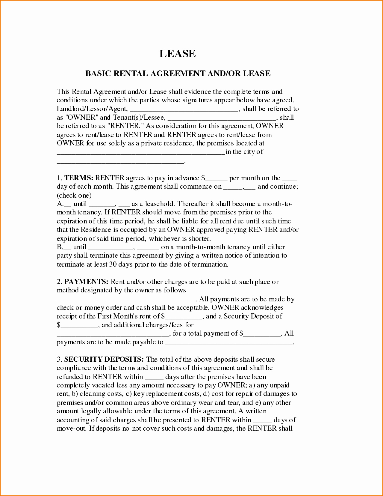 6 Basic Lease Agreement