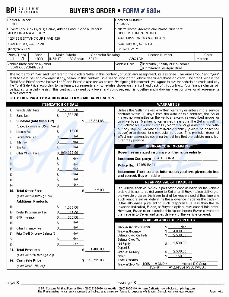 6 Best S Of Vehicle Buyers order form Template Pdf