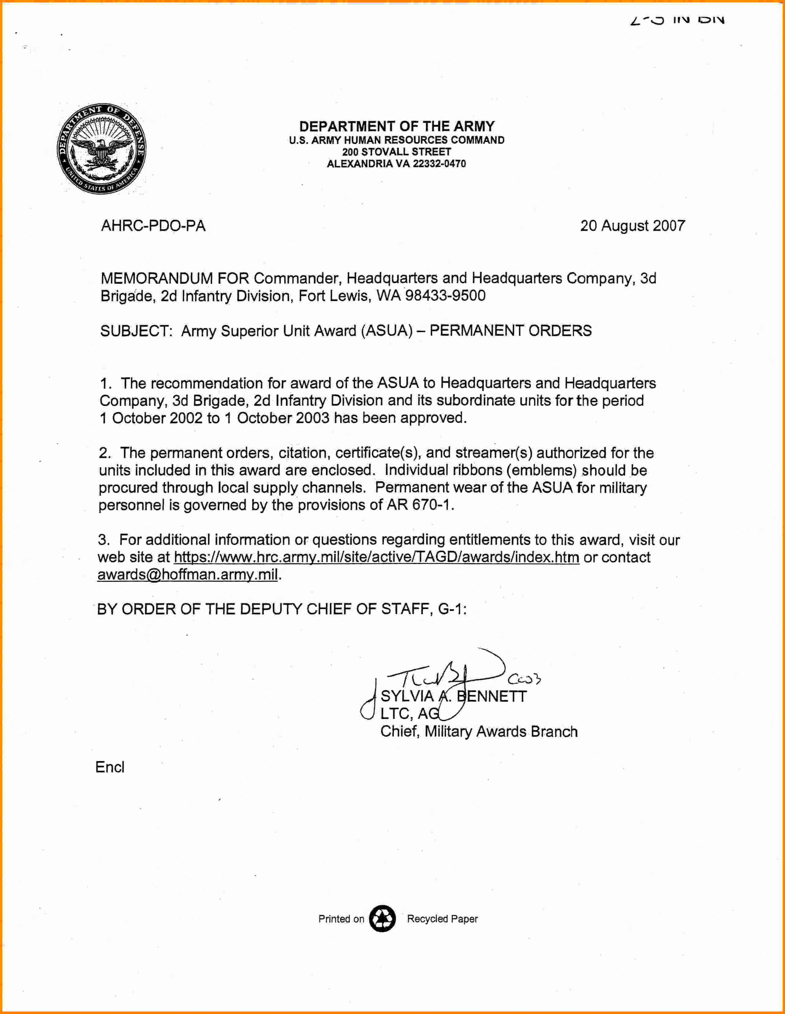 6 memorandum for record army