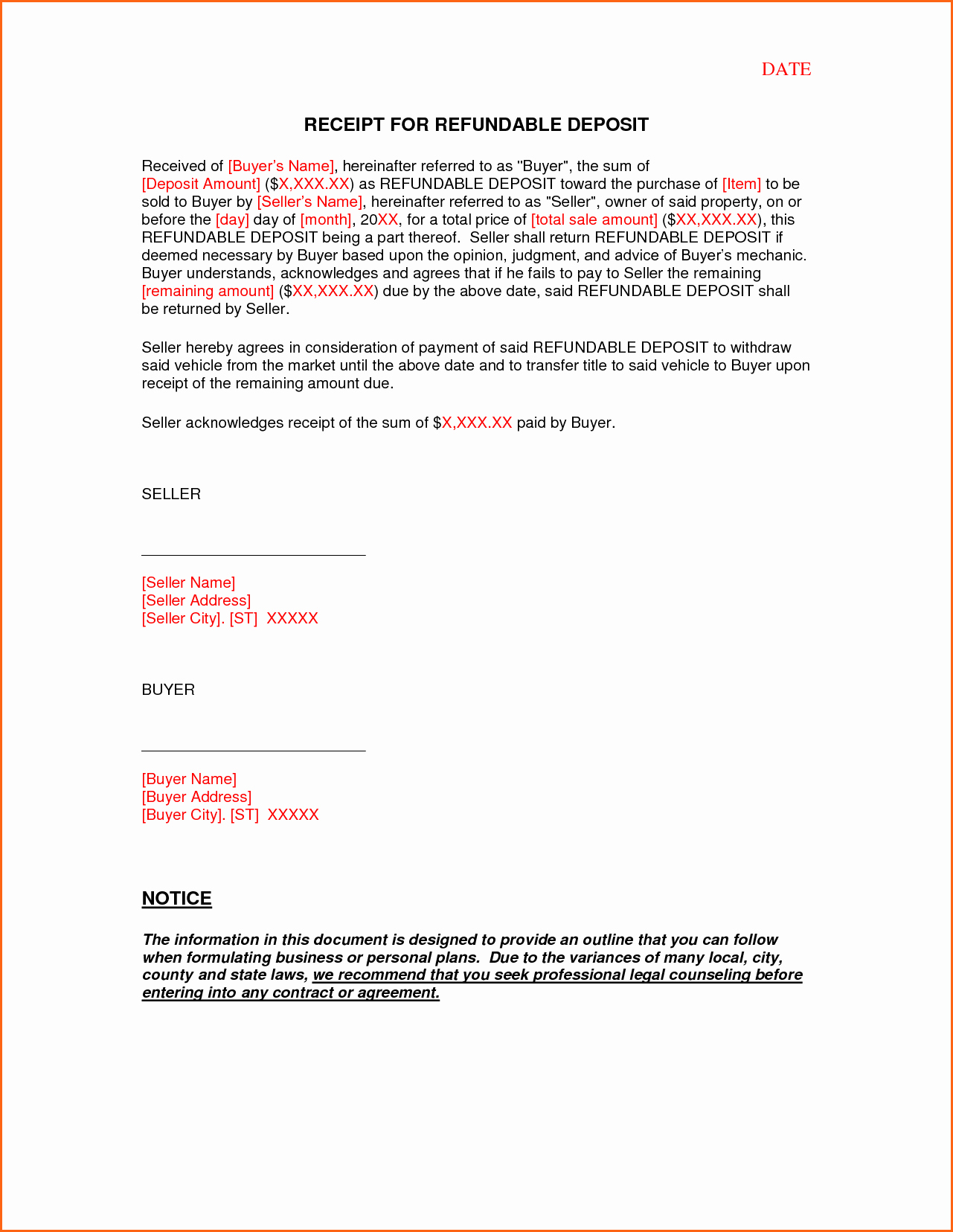 6 Vehicle Deposit form Bud Template Letter