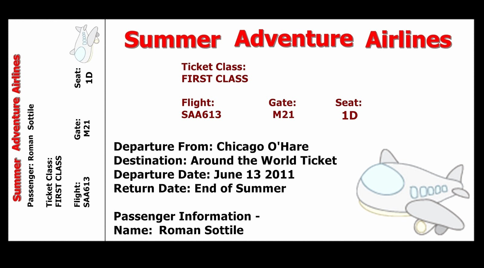 7 Best Of Airline Ticket Template Free Printable
