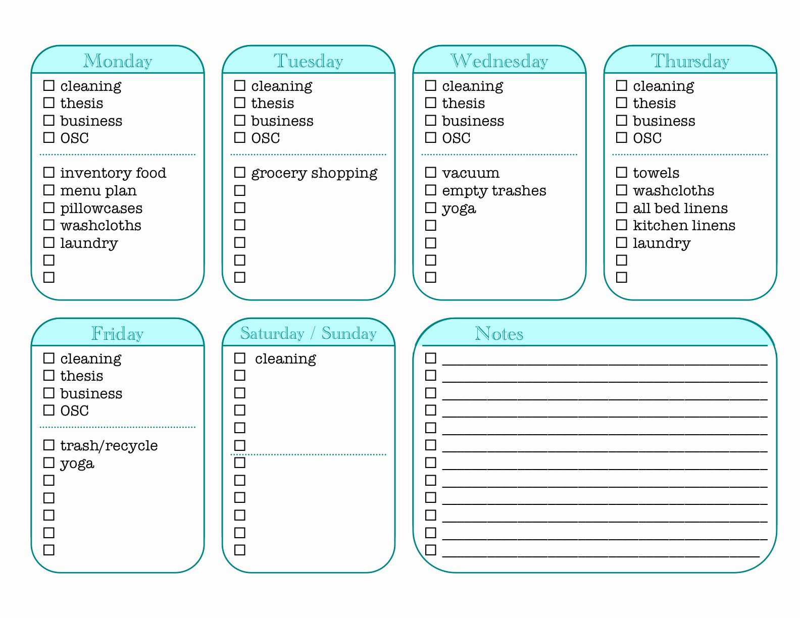 7 Best Of House Cleaning Chore List Printables