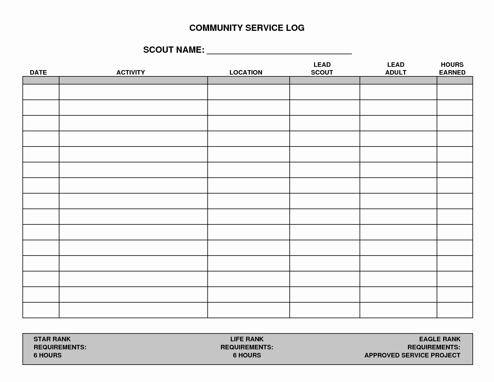 7 Best Of Printable Hours Log Volunteer Hours Log