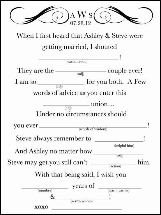 photo regarding Free Printable Wedding Mad Libs Template identify 7 Least difficult Of Wedding ceremony Crazy Libs Pdf Template Printable Latter