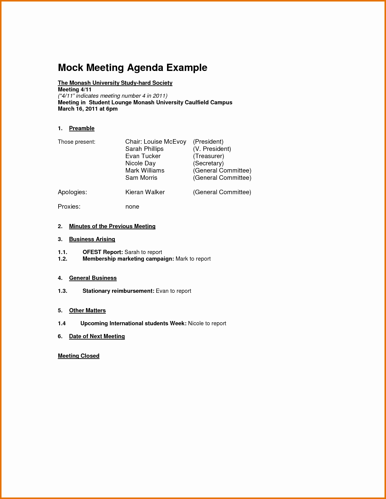 7 Meeting Agenda Outlinereference Letters Words