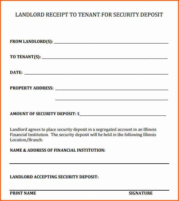 7 Security Deposit Receipt form Bud Template Letter