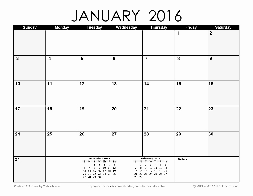 8 Best Of 2016 Monthly Calendar Printable Janu