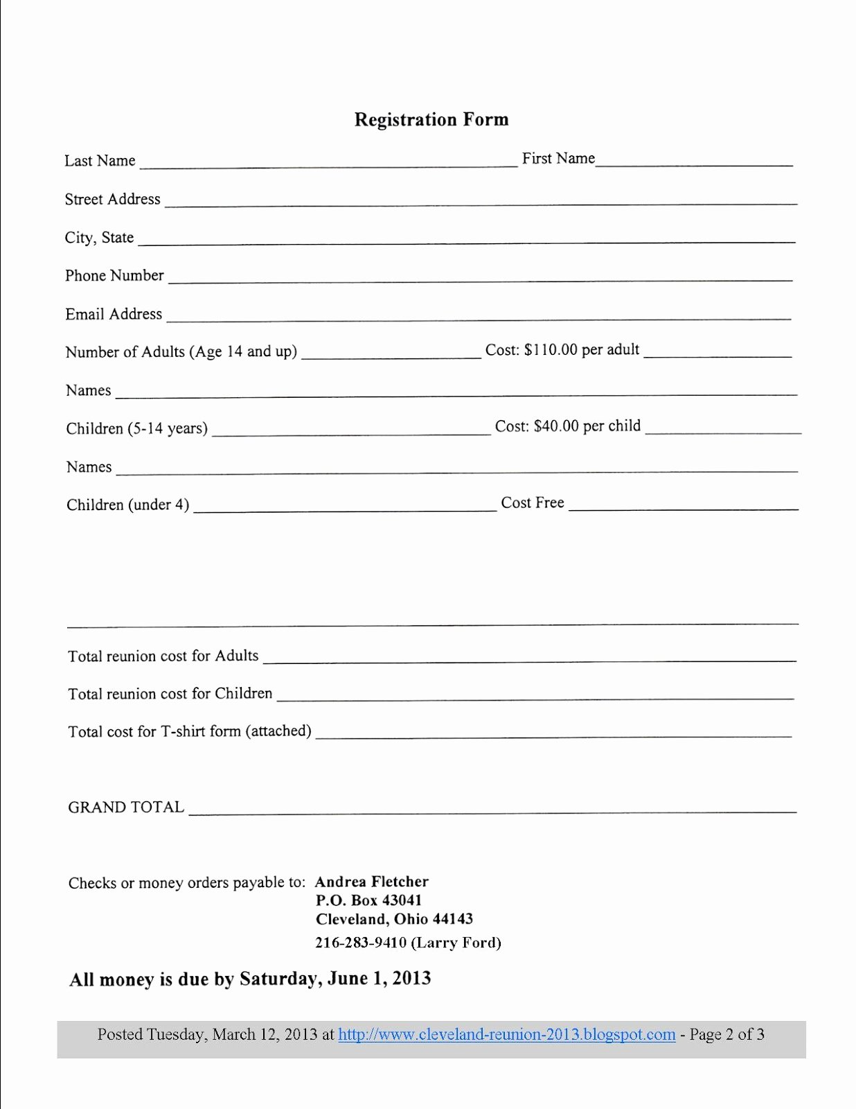 8 Best S Of Printable Registration form Template