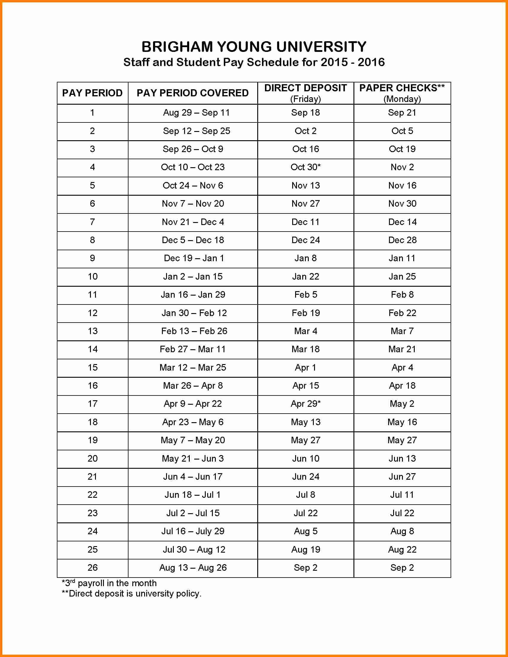 8 Payroll Calendar Template 2016